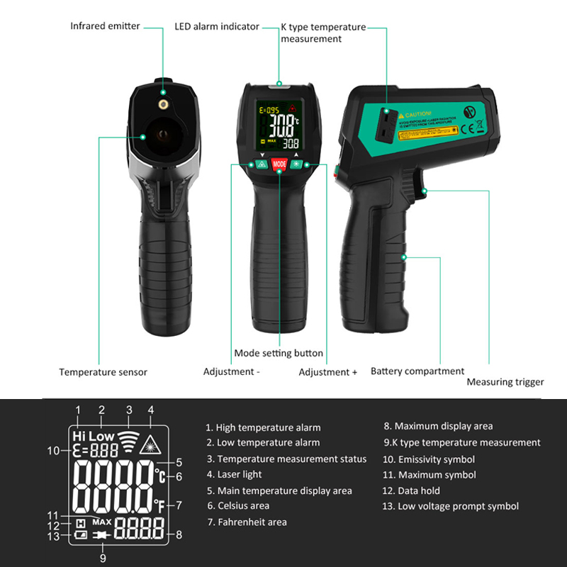High Precision Non Contact Thermometer with K Probe and LCD Display to Check Body Temperature 2