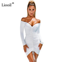Liooil Off The Shoulder Sexy Ruched Mini Dress 2019 Long Sleeve V Neck Lace-Up Black White Tight Dresses Woman Party Night Club