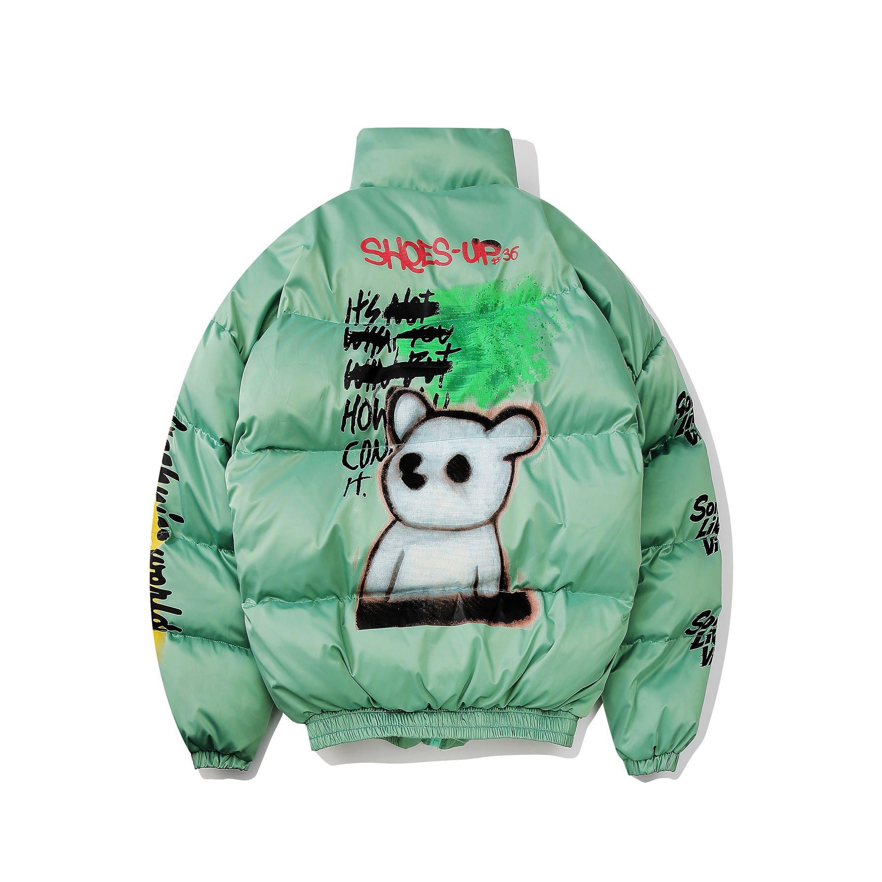 UNCLEDONJM Men's Warm Winter Jacket Funny Printed Bomber Thick Coat Male Parkas Streetwear Jackets Hip Hop Outerwear 311