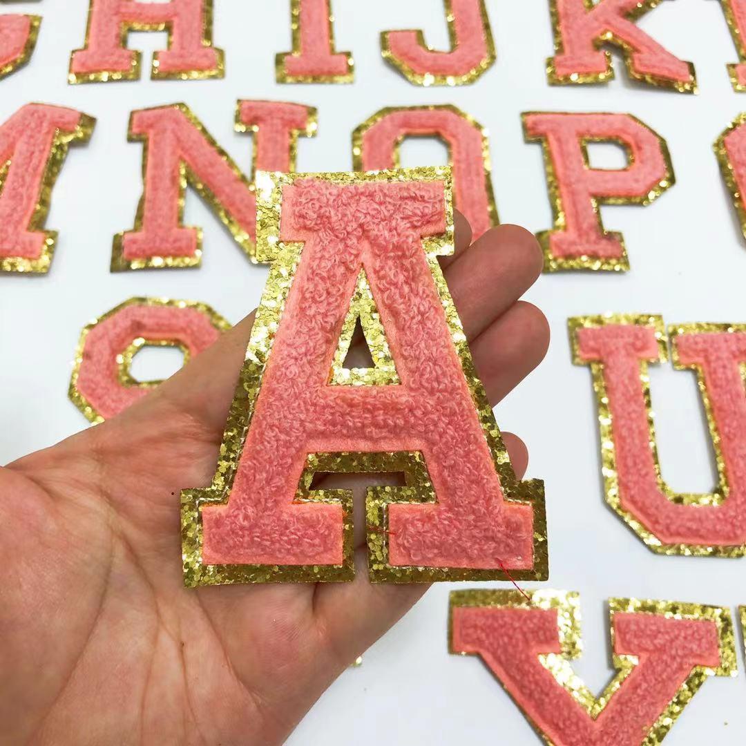Оранжево-розовые буквы euqins полотенца вышитые нашивки для одежды сумки куртки аксессуары для утюга своими руками нашивка с именем аппликаци...