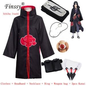 Image 1 - Naruto Akatsuki Uchiha Itachi full Cosplay Costume Men Women Orochimaru uchiha madara Sasuke Cloak Robe Cape Halloween Carnival