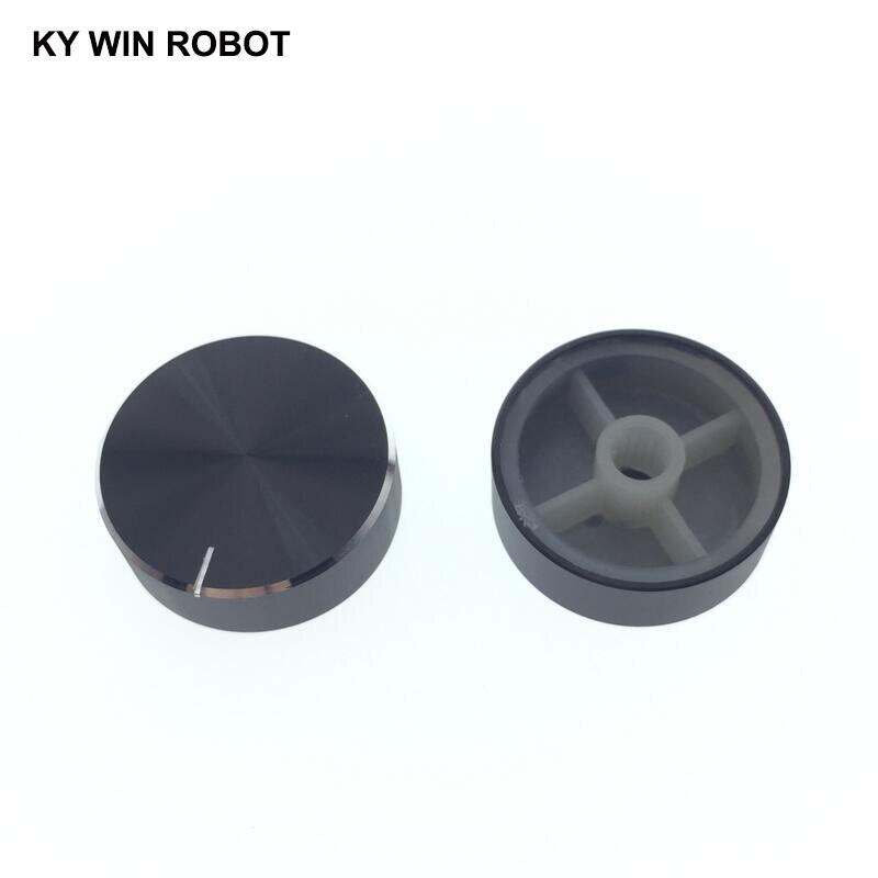 1 Pcs 30x10mm 6mm Shaft Hole Aluminum Alloy Potentiometer Knob Black