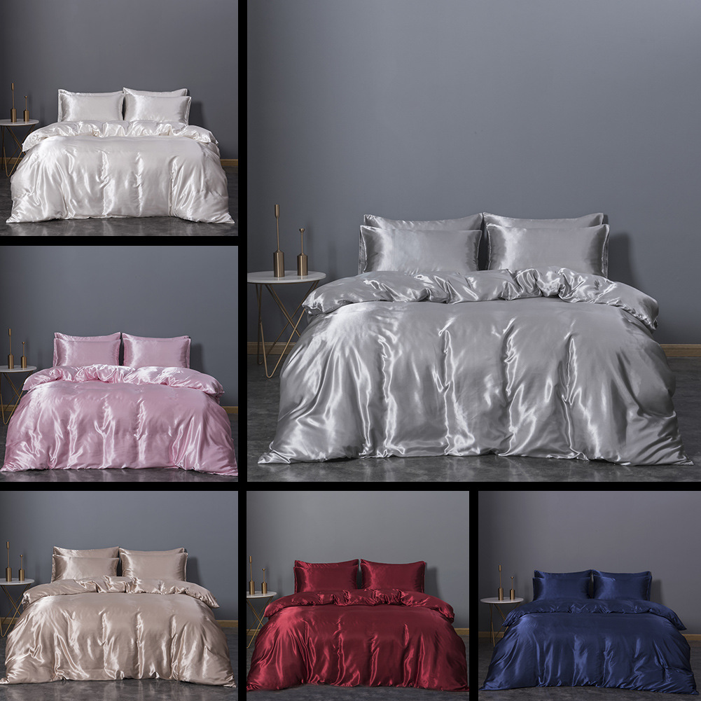 Textile Imitated Silk Fabric Three-piece Set Solid Color Duvet Cover Set Hot Selling Bedding Article US Size