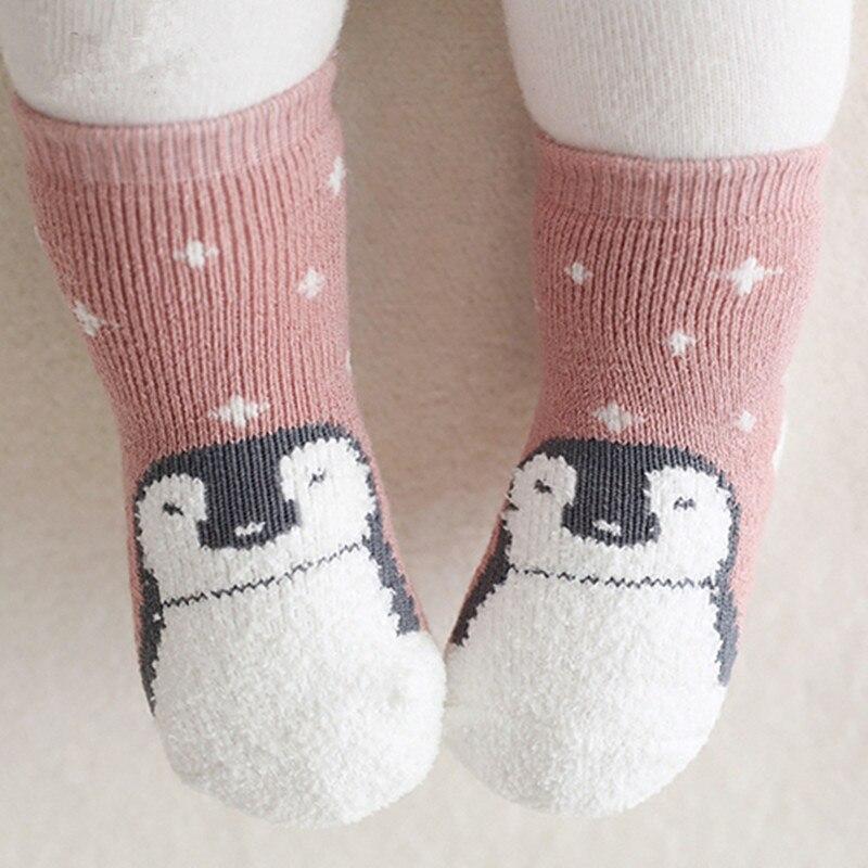 Kids Socks Warm Coral Fleece Baby Winter Socks Cotton Boys Girls Footwear Thick Children Animal Socks Anti Slip Indoor Cute Cute
