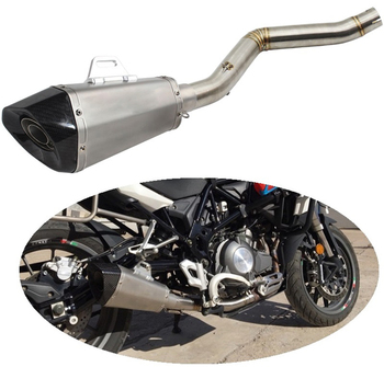 TRK502 Motorcycle Exhaust Muffler System Link Pipe Carbon End Tip for Benelli TRK 502 TRK502 Year to 2017 Exhaust Escape Moto