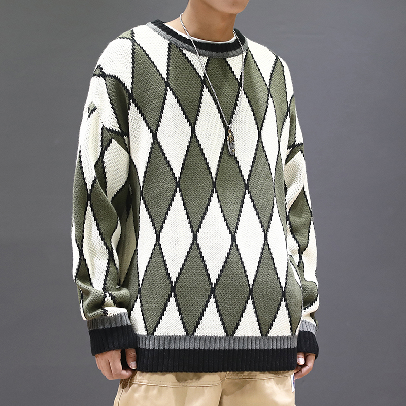 UYUK2019 Winter New Loose Casual Fashion Trend Harajuku Diamond Patchwork Round-neck Plus-size Men's Sweater Clothes Hombre