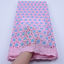 Top Sale African Swiss Voile Lace In Switzerland Holes Design 100% Cotton Laces With Stones Soft For Nigerian Dress F1751