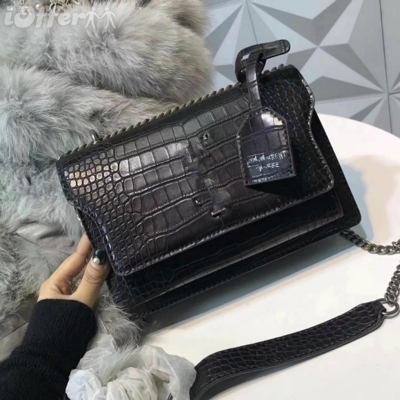 2020 women bag Genuine leather shoulder bag Crocodile pattern cross-body bag Flap chain bag Fashion party bag