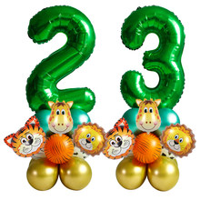 18pcs Jungle Safari Party Balloons Set Green Number Ballons Kids 1st Birthday Party Decoration 2nd Birthday Party Supplies