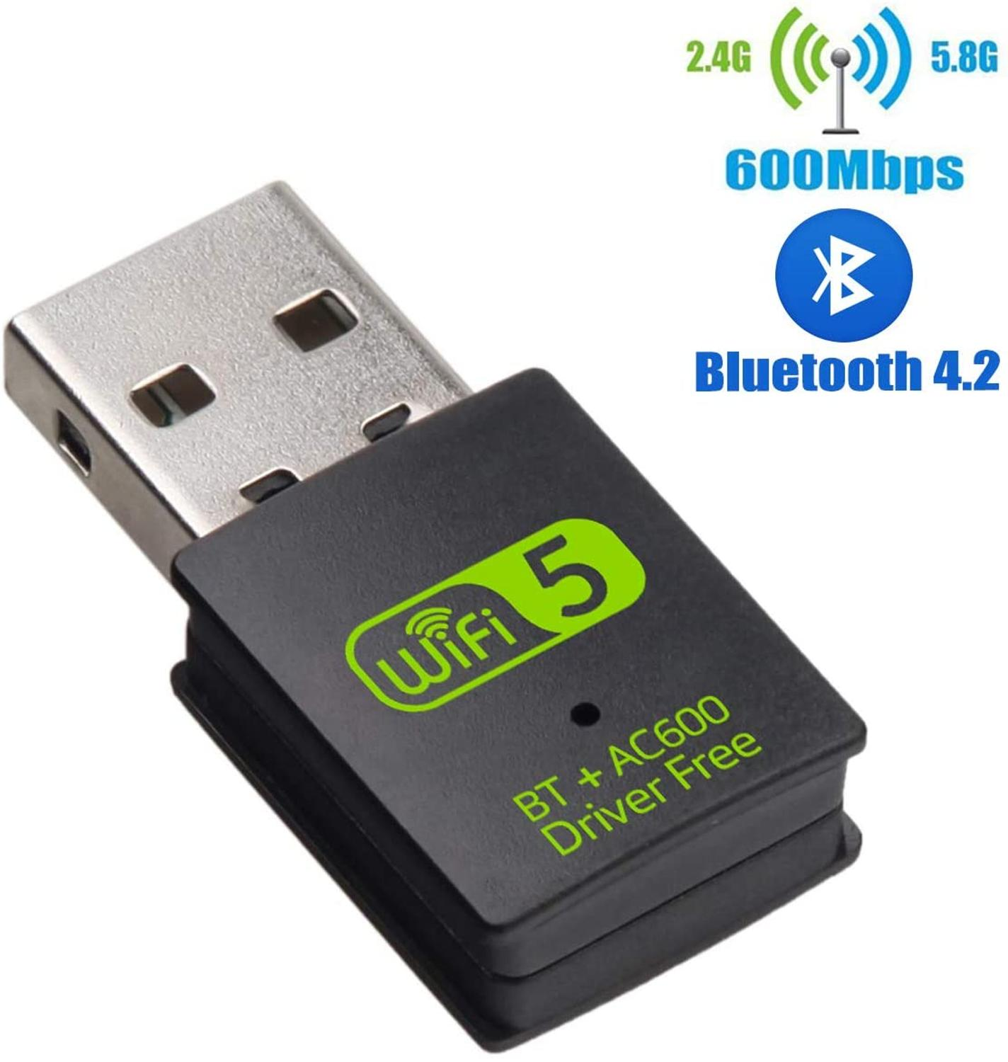 AMKLE 600Mbps WIFI USB Adapter Driver Free Bluetooth BT wifi USB dongle Dual Band LAN Ethernet Adapter USB Network Card(China)