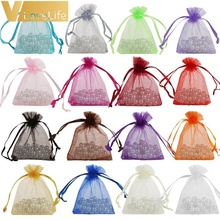 METABLE 50pcs Organza Bags Drawable Jewelry Pouch Gift Packaging Bag Candy for Wedding Party Favors Xmas Decorations