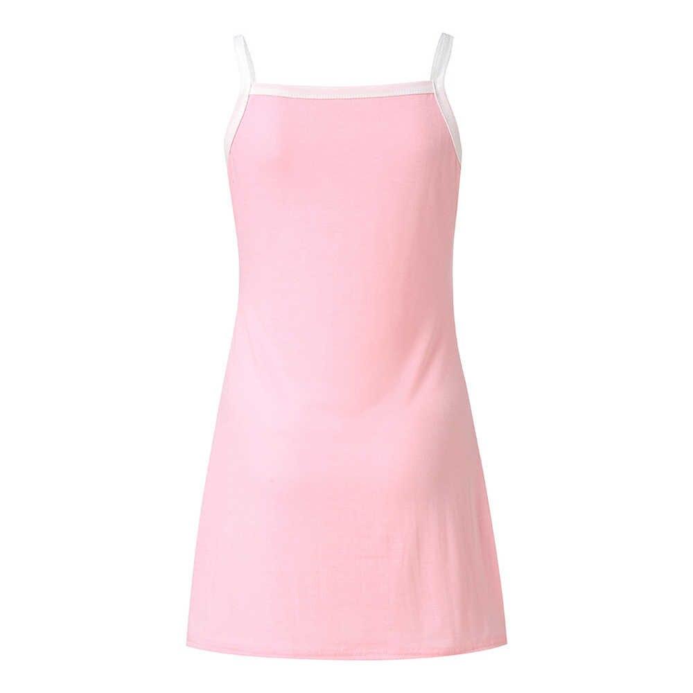 새로운 섹시한 여성 숙녀 캐주얼 드레스 고양이 인쇄 스파게티 스트랩 드레스 여름 귀여운 민소매 홈 드레스 블랙 그레이 핑크