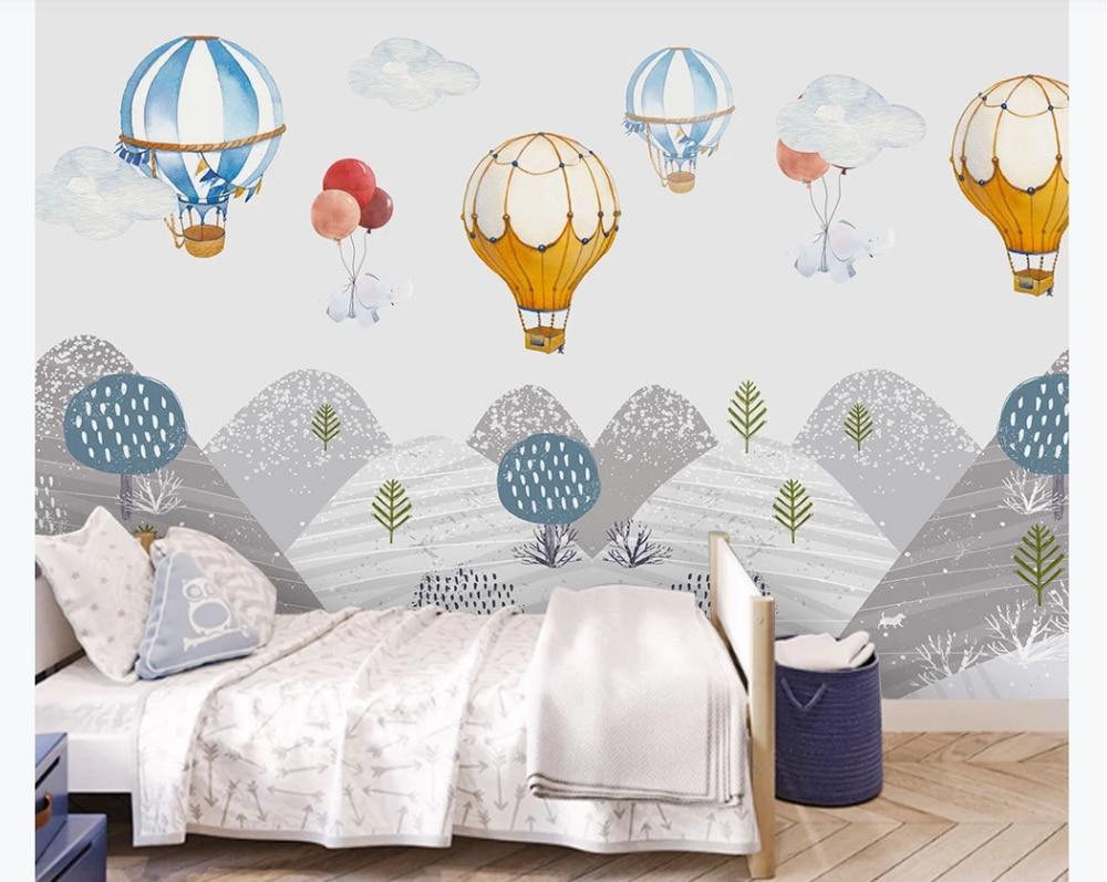 Custom Photo Wallpaper Mural Modern Minimalist Hand Painted Children S Room Hot Air Balloon Mountain Peak Bedroom Mural Fabric Textile Wallcoverings Aliexpress