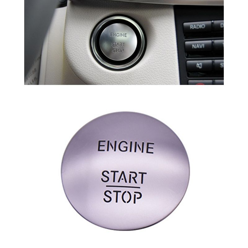 Car Keyless Start Stop One Button Start Button Switch Ignition Button Protection Cover for Mercedes Q84E