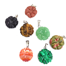 2019 New 9Colors Natural Stone Pendants Flower Shape Crystal Agates Necklace Pendant for Jewelry Making Good Quality Size18x22mm