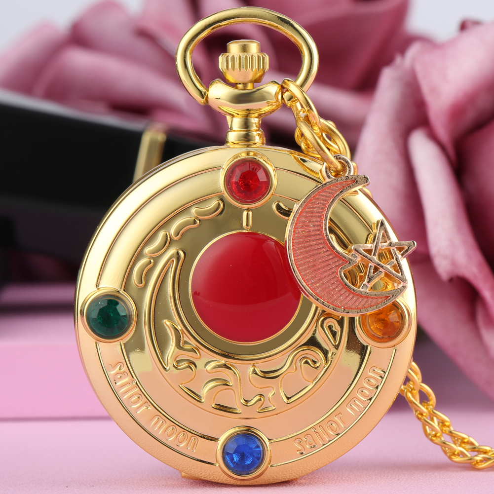 Cute Sailor Moon Theme Quartz Pocket Watch Anime Cosplay Necklace Chain Pendant Clock Ladies Womens Girls Watch Gift Reloj Mujer