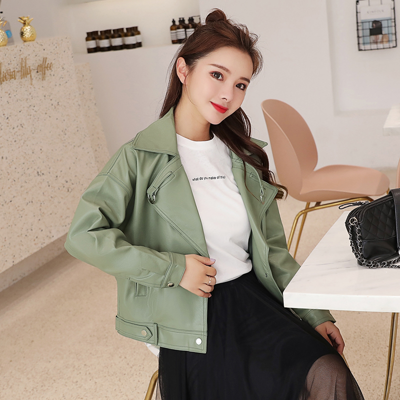Leather   jacket female 2019 autumn new short   leather   jacket female Korean women's washed PU   leather   jacket motorcycle jacket new