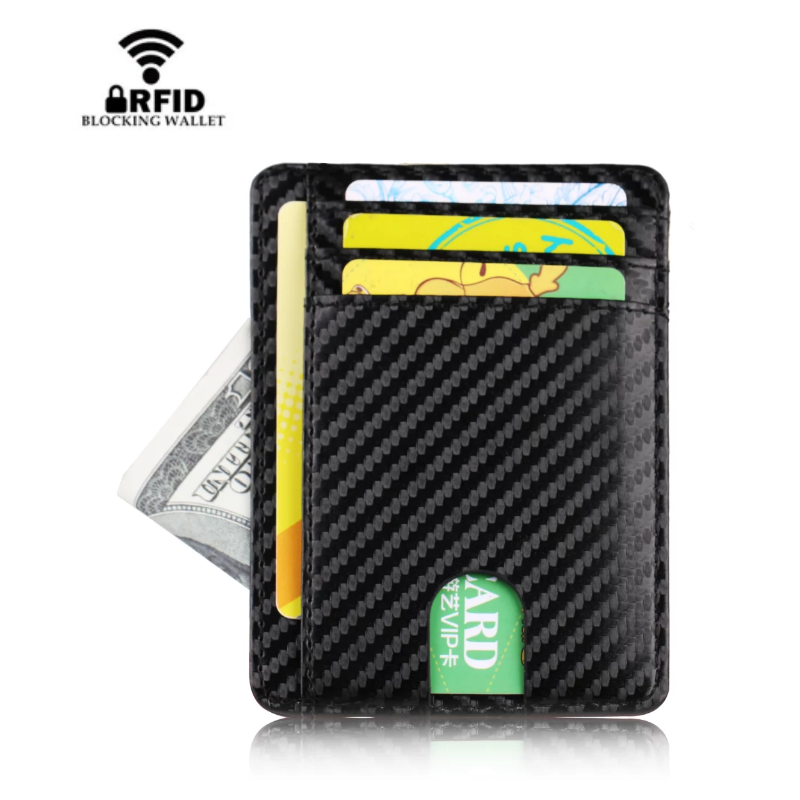 Blocking RFID Men Women Wallet Slim Simple Bank Travel Leather Business Card Case Card Holder Card Wallet Coin Purse Money Pouch
