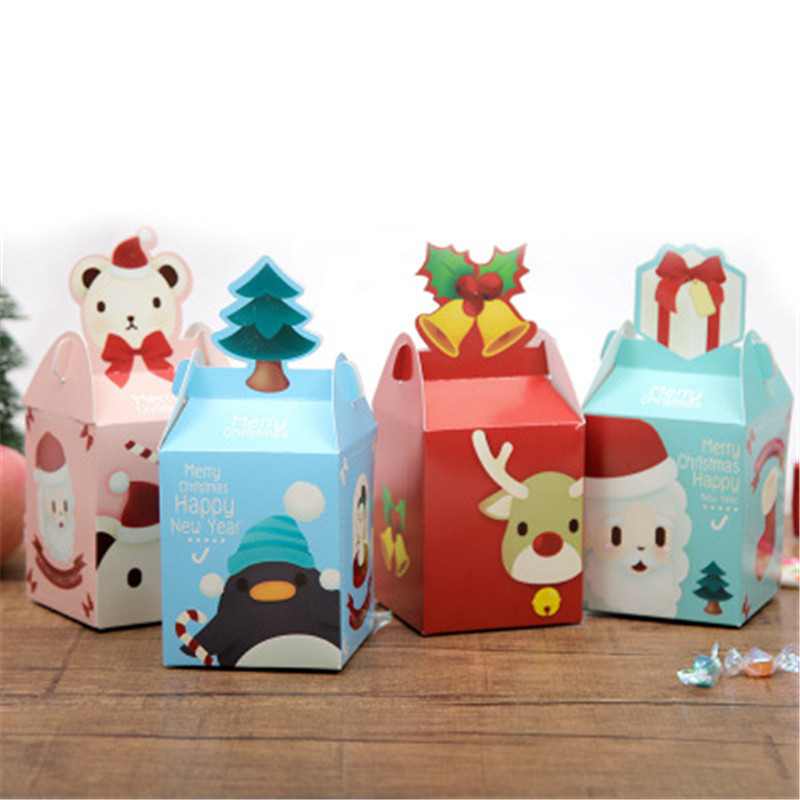 1PC Christmas Gift Box Christmas Apple Box Cookies Candy Gift Bag  Folded Box Colorful Decoration Kids Gifts Freeshipping