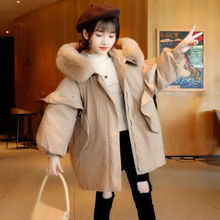 Baby Girl Fashion Jacket Overcoat Plus Fur Warm Toddler Girls Warm Hooded Coat Outwear Winter Children cotton-padded clothes
