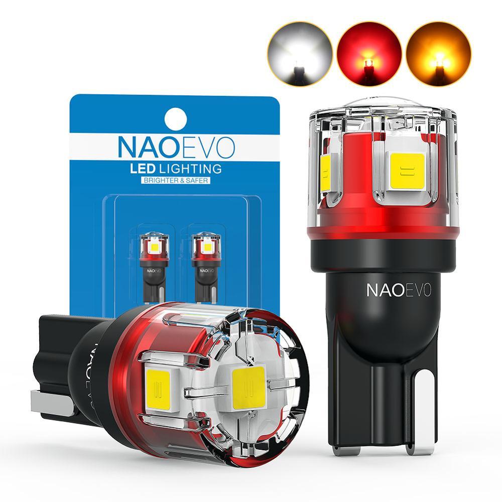 NAO W5W T10 светодиодный CANBUS без ошибок 5W5 12В 24В 5Вт 750лм супер яркий автомобильный внутренний боковой светильник 194 3030 SMD Авто Лампа Белый Янтарны...