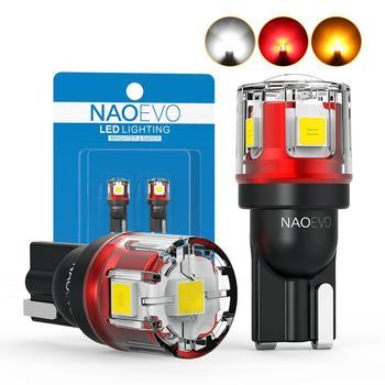 NAO W5W T10 LED CANBUS bez błędu 5W5 12V 24V 5W 750lm Super jasny samochód strona wewnętrzna światło 194 3030 SMD żarówka biały bursztynowy czerwony