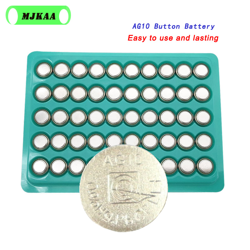 Hot Sale 50pcs <font><b>AG10</b></font> LR1130 1130 SR1130 389A LR54 L1131 <font><b>1.5V</b></font> Button <font><b>Battery</b></font> MP3 Players,Toys Watch <font><b>Batteries</b></font> Zn/MnO2 Batteria image