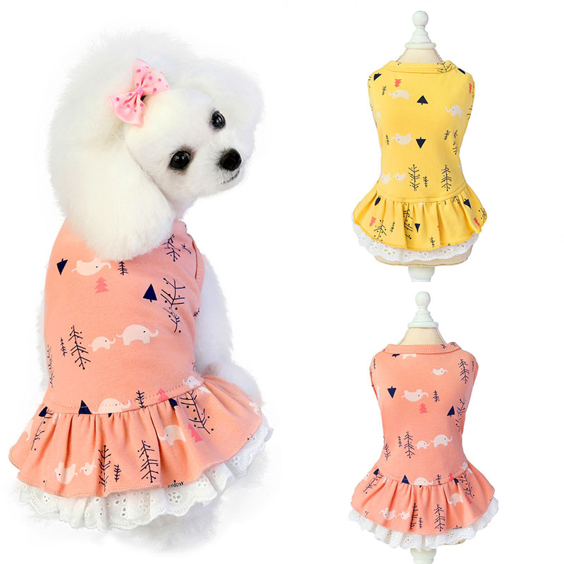 Fashion Cotton Pet Clothes Cute Fruit Pattern Dress T-shirts Lovers Suit Small Medium Cat Dog Clothes Pet Supplies Dog Skirts