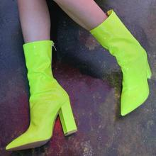 women mid-calf boots high heels pumps shoes woman chaussure pointed toe PU leather candy booties wxz110 women mid calf boots thin high heels warm stiletto shoes woman pointed toe booties wxz138