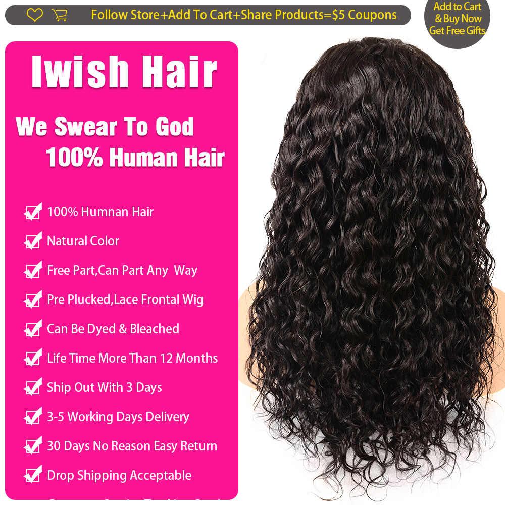 30 Inch Pruik Water Wave Pruik Maleisische Sluiting Pruik Iwish 150% Remy Human Hair 4X4 Vetersluiting Pruik pre Geplukt Met Baby Haar