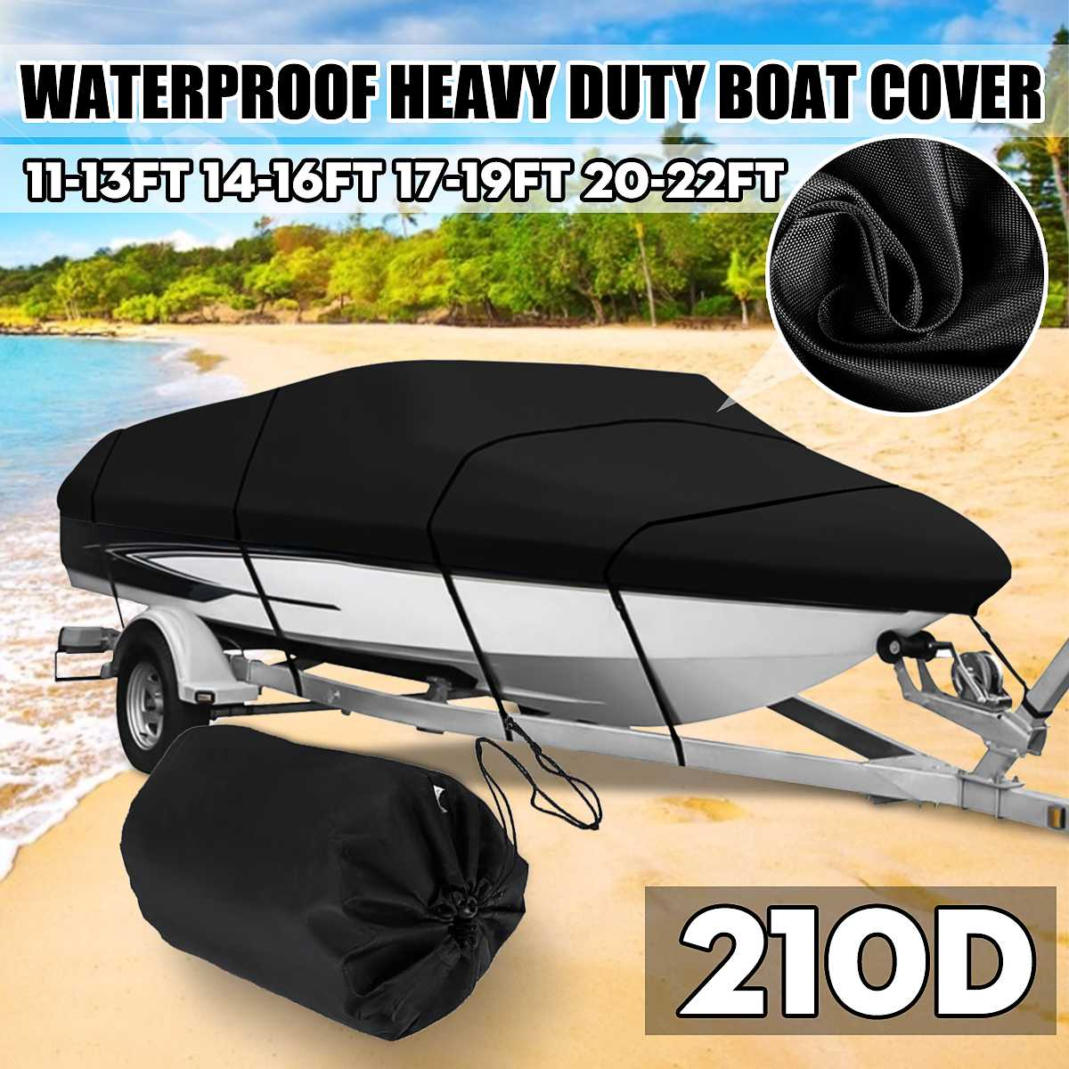 11-13ft 14-16ft 17-19ft 20-22ft Black Marine Grade Boat Cover Sunproof Anti UV Premium Heavy Duty 210D Trailerable Canvas