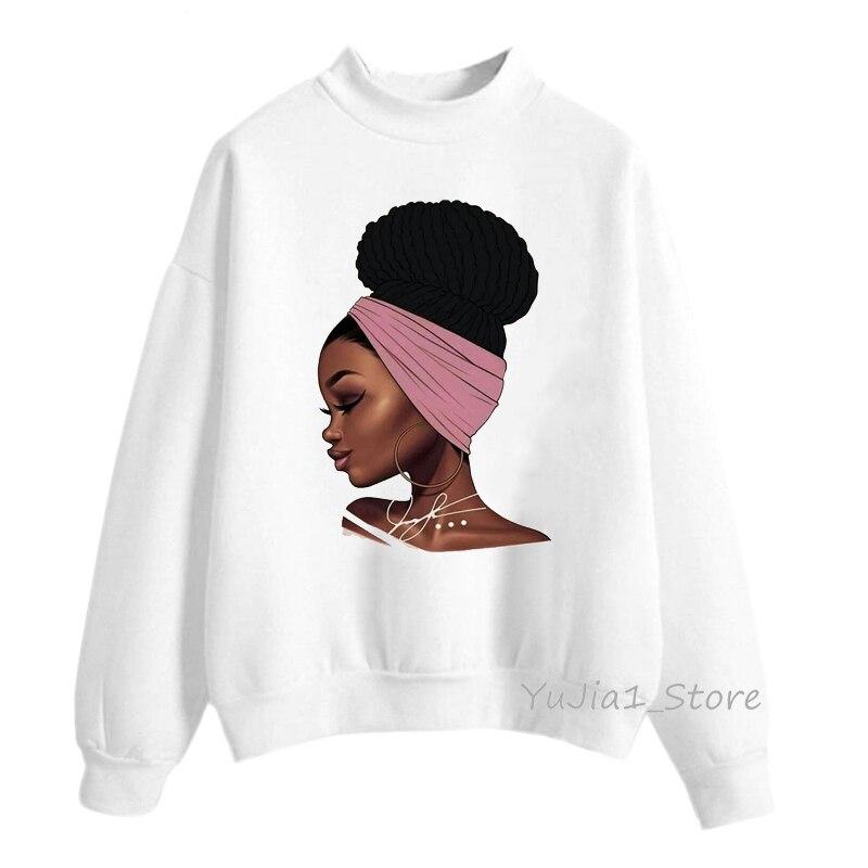 Sudadera Mujer 2019 Melanin Poppin Hoodies Black African Kawaii Girl Printed Sweatshirt Women Clothing Harajuku Oversized Hoodie