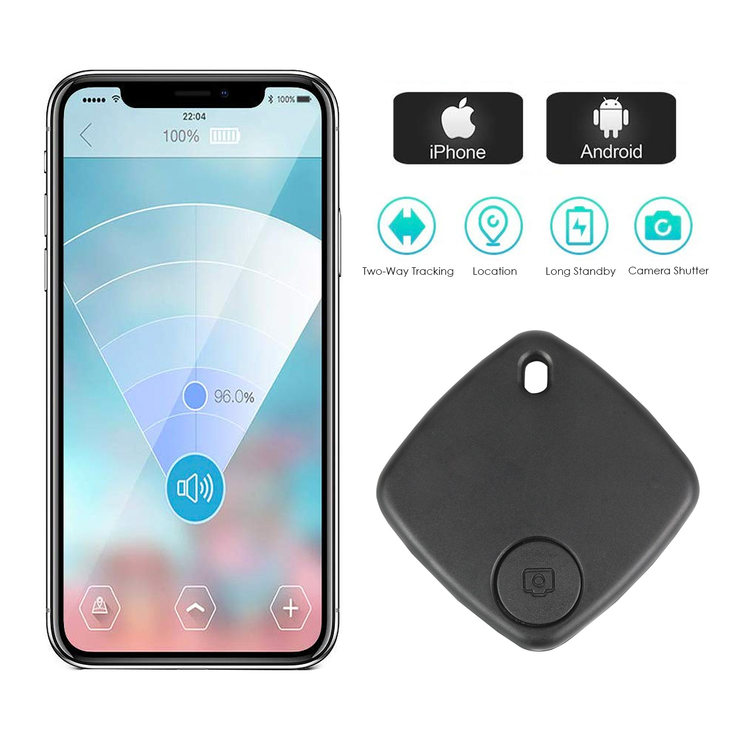 Mini Bluetooth Tracker Anti Lost Alarm Wallet Smart Tag Bluetooth Tracer GPS Locator Keychain For Pet Dog Kids Selfie Remoter