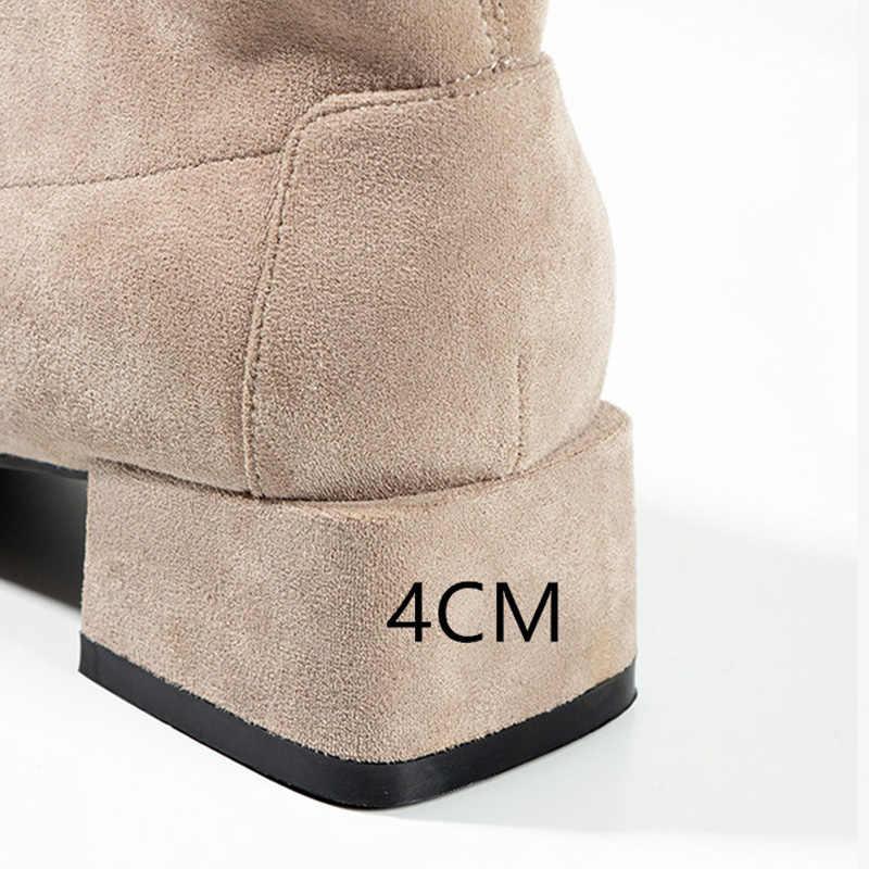 Botas Mujer Invierno 2019 Laarzen Vrouwen Winter Bont Ankel Laarzen Voor Vrouwen Hoge Hakken Booties Effen Blauw Zwart Dames vrouwelijke schoenen