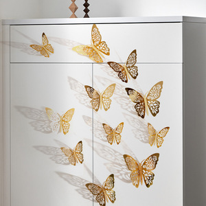 12pcs/set 3D butterfly wall stickers wedding decoration window refrigerator stickers home decoration golden silver butterfly