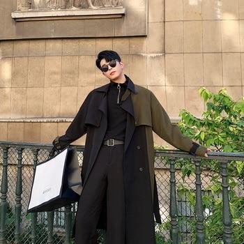 Men Autumn Winter Splice Sashes Loose Casual Chic Long Trench Coat Male Vintage Streetwear Hip Hop Windbreaker Overcoat Jacket