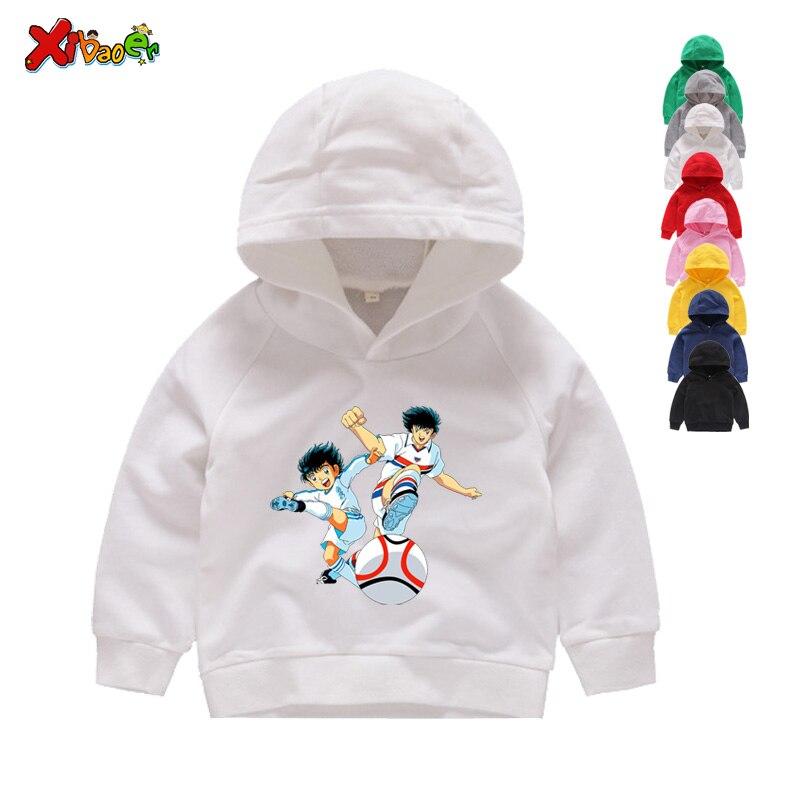 Kids Hoodies Sweatshirts Anime Captain Tsubasa Hoodies Children Leisure Long Sleeves Boys Football Motion Sweatshirts 2T-8T