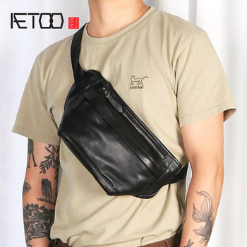 AETOO The first layer of leather black retro fashion chest bag leather cross-body shoulder shoulder bag small shoulder bag mobil