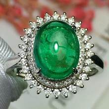 Fine Jewelry Real Pure 18 K White Gold 100% Natural Emerald 3.8ct Gemstone Diamonds Jewellery Female's Rings for women Fine Ring(China)