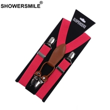 SHOWERSMILE, женские подтяжки, женские кожаные красные брюки, ремень, 4 зажима, женские подтяжки, для взрослых, подарок для подруги, одноцветные тиранты