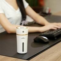 Humidificador de ar ultra-sônico da névoa fresca do estilo bonito do copo com luzes da noite para ca recarregável 300 ml usb mini umidificador com bateria