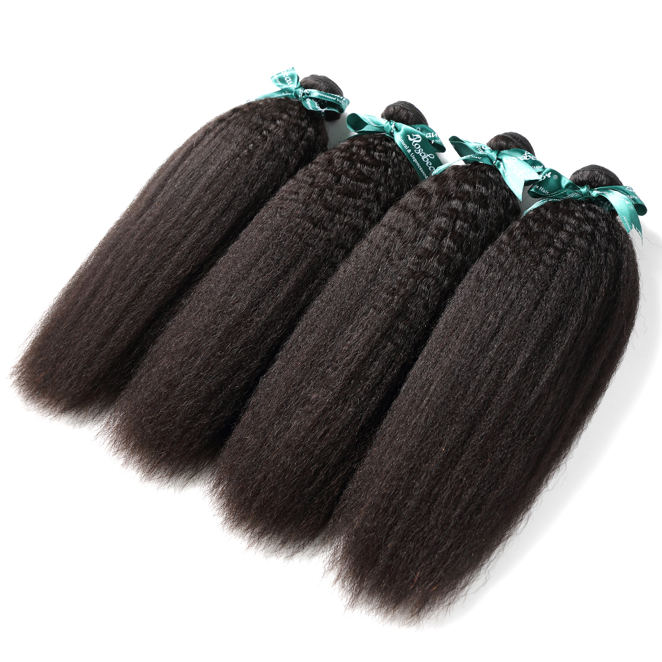 Rosa Beauty Grade 8A Indian Hair Kinky Straight Remy Hair Extension Coarse Yaki 100% Human Hair Weave Bundles Natural Black