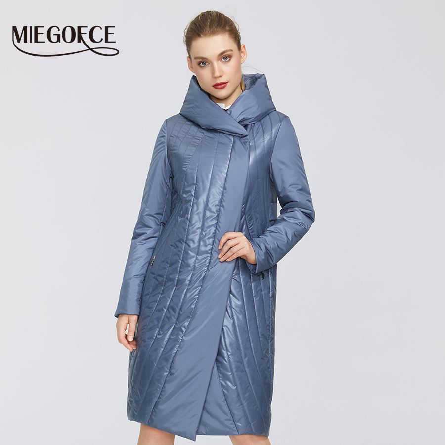 MIEGOFCE 2020 Spring Autumn Women`s Collection Windproof Jacket Cotton Jacket Female Raincoat With A Hood Of Medium Length