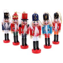 12cm dziadek do orzechów lalek ozdoby świąteczne dekoracja stołu kreskówki rysunek orzechy włoskie żołnierze zespół lalki dziadek do orzechów miniatury tanie tanio Ludzi Sztuka ludowa Organiczny materiał