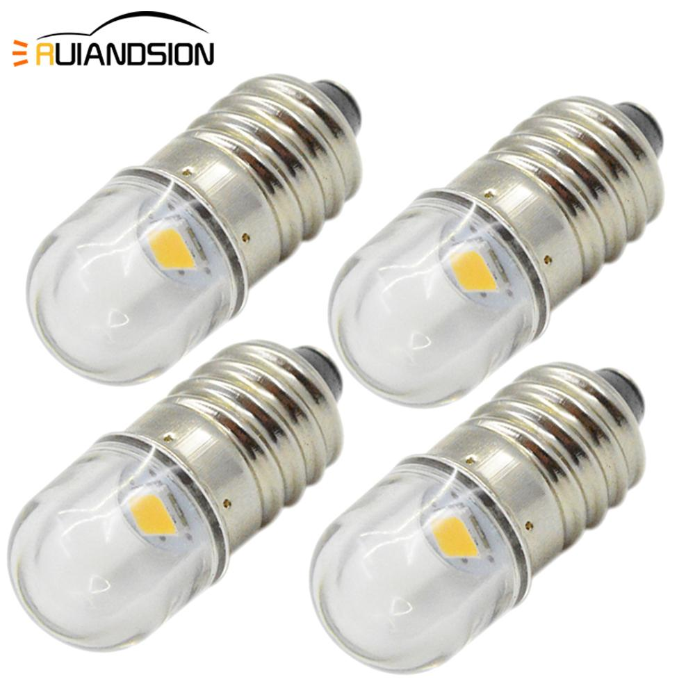 4x E10 3V 6V 12V Warm White Minature 2835 LED MES Upgrade Bulb Lamp Replacement For Torch Flashlight Headlight Motor Bicycle