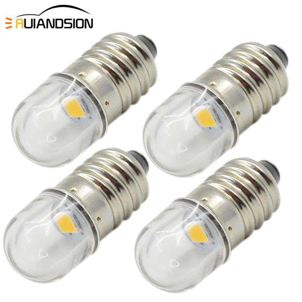 White Flashlight Torch Lamp Bulbs E10 3V 6V 12V 24V COB 2W Mes Screw LED Warm