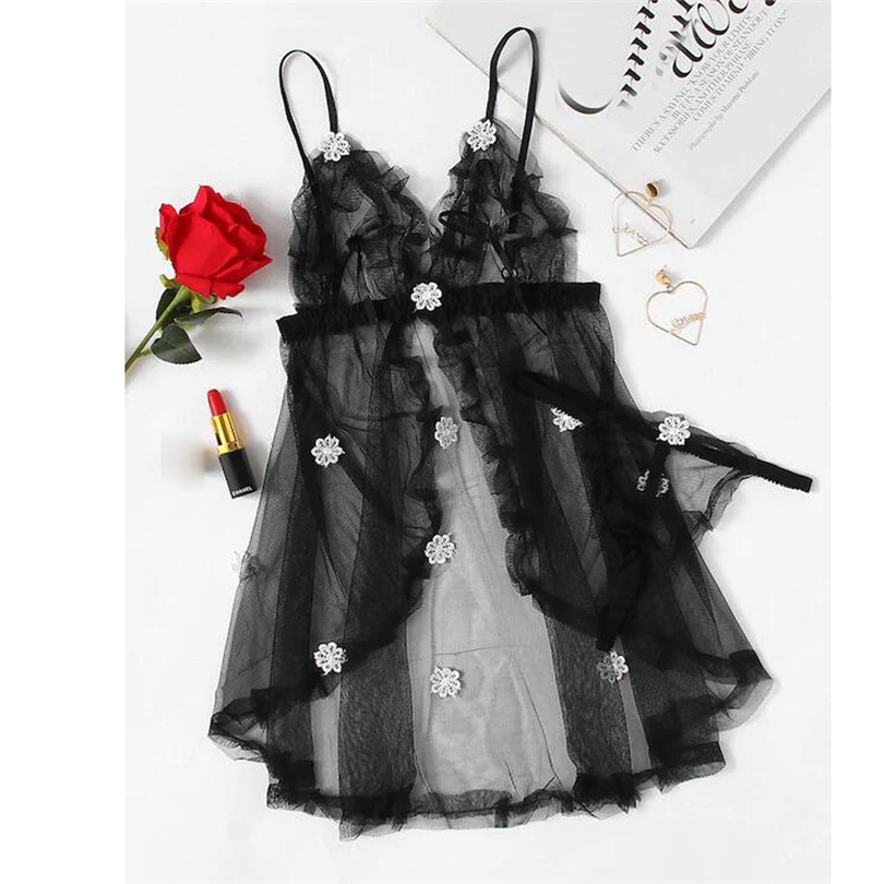 New Women Sexy Lingerie Black Flower NightDress Detail Mesh Slip Set Babydoll Nightgown Erotic Costumes Hot Sex Sleepwear A20