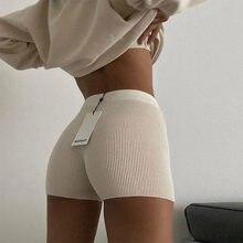 2021 New Women's Solid Bodycon Shorts Slim Sexy Women Summer Slim Black White Cotton knitting Mini Sexy шорты женский