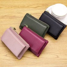 цены New 2 in 1 Women Coin Purse with Key Organizer Top Layer Leather Female Card Holder Coin Purse Casual Travel Cowhide Wallets