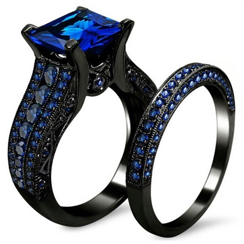 Fdlk preto ouro strass princesa corte preto ou azul cz casamento noivado banda anéis de noiva conjunto tamanho 5-12
